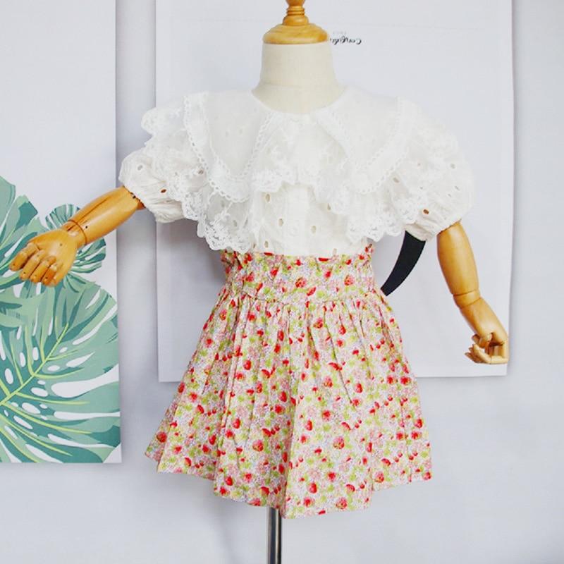 2021 Spring Summer Girls' Clothing Sets Lace Lapel Tops Floral Short Skirt Suit Princess Kids Toddler Girl Clothes Fashion 2 Pcs