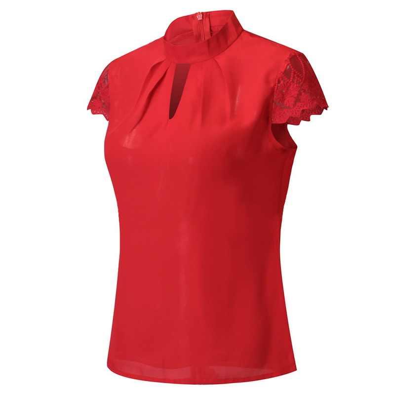Puimentiua dantel üstler bluz yaz kısa kollu Hollow bluz gömlek artı boyutu 5XL rahat şifon kadın Blusas V boyun Streetwear