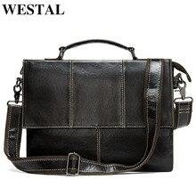 WESTAL mens briefcase handbag mens genuine leather laptop bag business tote for document office portable laptop shoulder bag