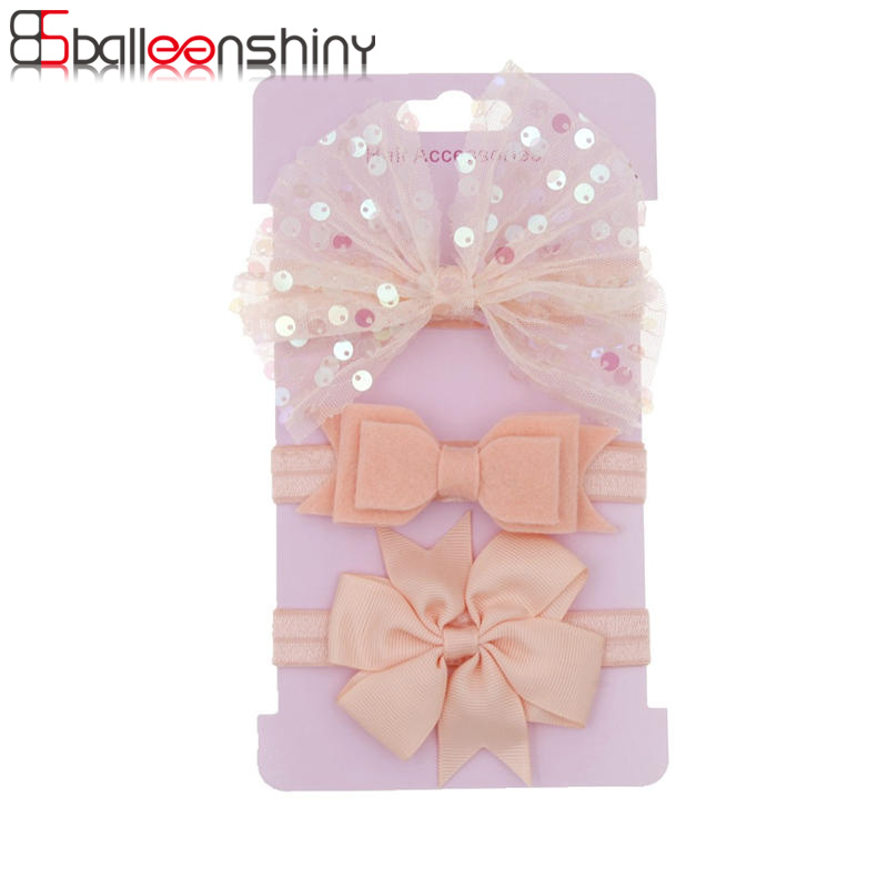 BalleenShiny 3pcs/lot Sequins Bow Rose Baby Girl Headband Kids Hair Accessories Baby Accessories Newborn Photography Props