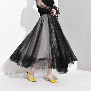 Image 5 - [EAM] High Waist Black Multilayer Mesh Split Joint Temperament Half body Skirt Women Fashion Tide New Spring Autumn 2020 JT1360