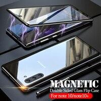 Magnetische Metall Stoßstange Flip Fall für Samsung hinweis 10 plus Ausgeglichenes Glas Vordere Zurück Abdeckung Für Galaxy note 10 pro note10 10 + Fall