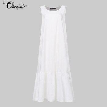Plus Size Sundress 2019 Celmia Women Summer Sleeveless Maxi Long Dress Female Casual Loose Solid Maxi Dress Holiday Vestido Robe 4
