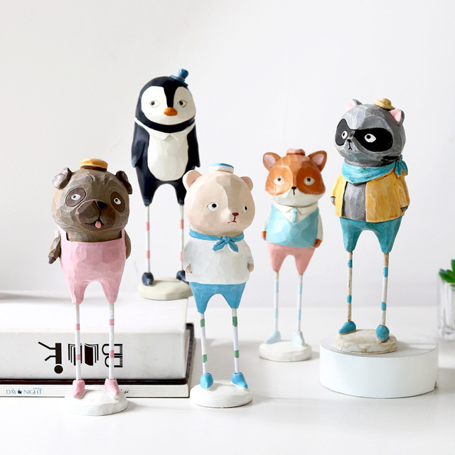 Creative  home decoration accessories cute resin animal figurine living room bedroom desk decoration home decor birthday gift 4