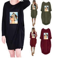 Повседневное свободное женское платье с карманами и круглым