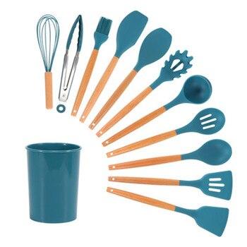 Juego De Utensilios De Cocina De silicona, cuchara antiadherente, cucharón De sopa, espátula giratoria, utensilio De Cocina para hornear