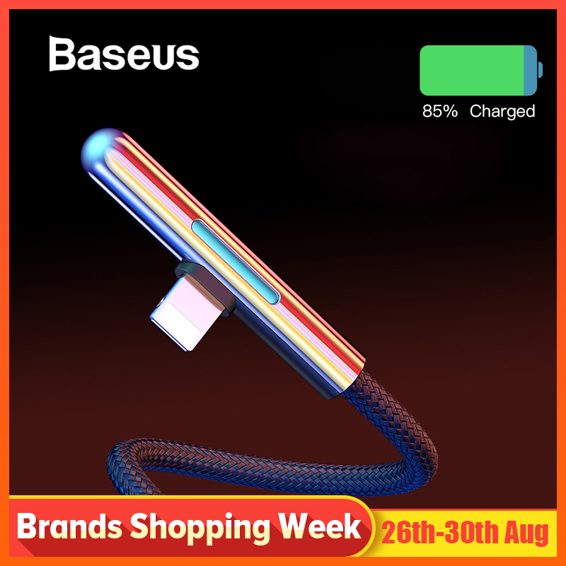 Baseus LED USB Cable for iPhone Xs Max XR 2.4A Fast Charging Cable Elbow Colorful Gradual