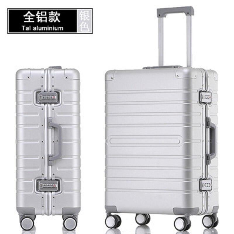 100% aluminium-alliage de magnésium matériel de haute qualité 20/24/28 taille voyage bagages Spinner marque valise de voyage