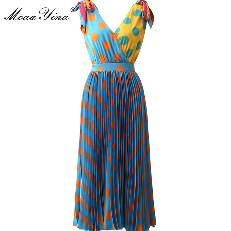 MoaaYina Fashion Designer Runway Dress Summer Women V-neck Dot Romantic Vacation Pleated Spaghetti Strap Dress