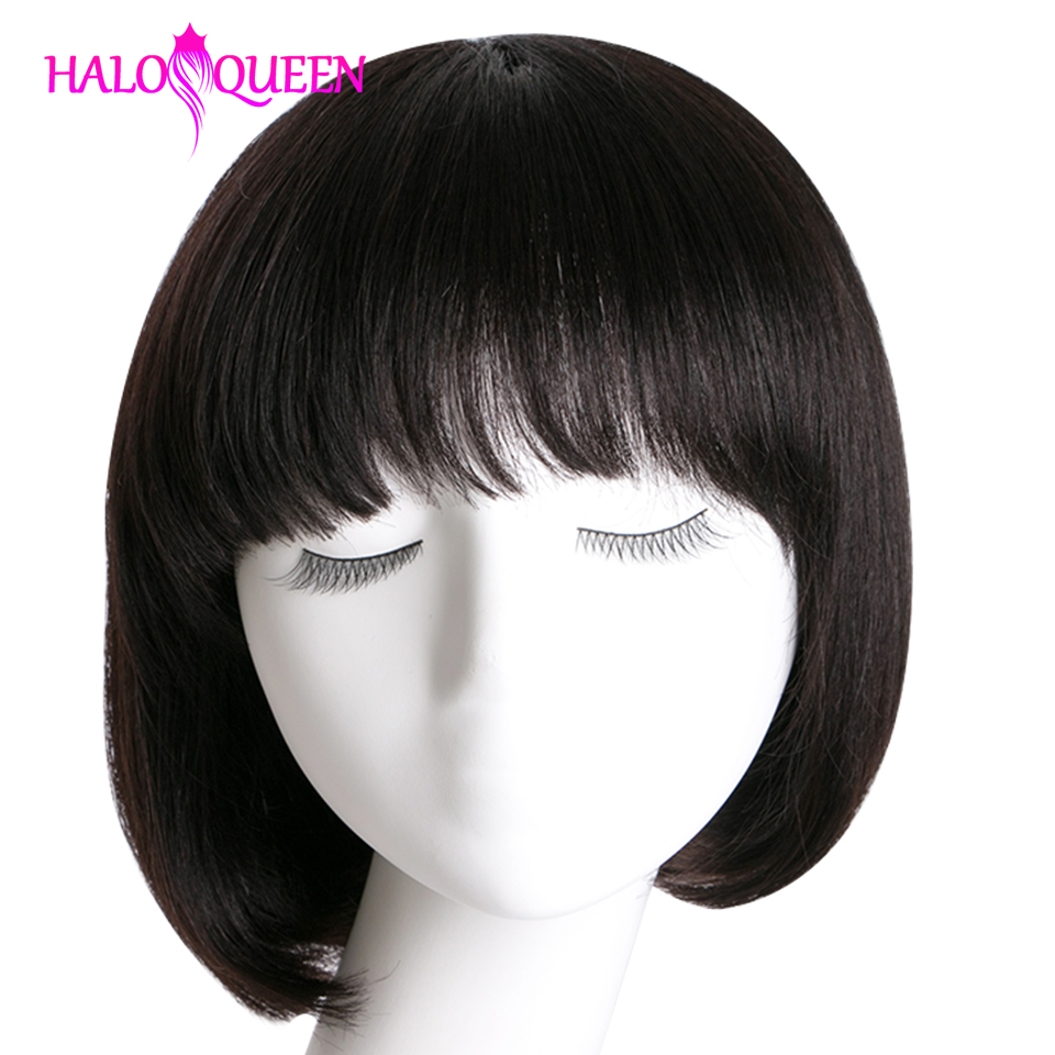HALOQUEEN Short Wigs Bang Human-Hair Natural-Color Straight Full-Machine Women for
