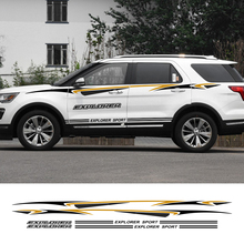 2pcs Sport Car Stickers Vinyl Film Auto Long Side Decals Reflective Decoration For Ford Explorer Tuning Styling Car Accessories