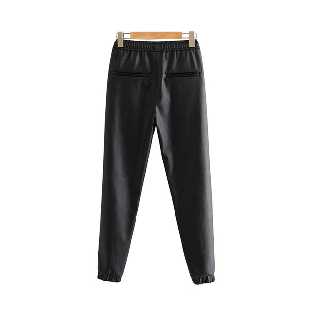 Vintage Stylish Leather Pockets Fashion Elastic Waist Trousers 1