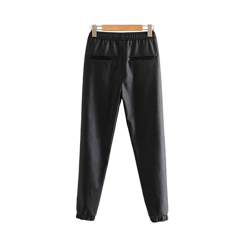 Vintage Stylish Pu Leather Pockets Pants Women 2020 Fashion Elastic Waist Drawstring Tie Ankle Trousers Pantalones Mujer 9