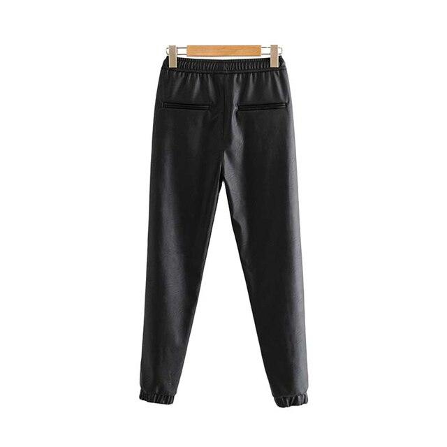 Vintage Stylish Pu Leather Pockets Pants Women 2020 Fashion Elastic Waist Drawstring Tie Ankle Trousers Pantalones Mujer 28