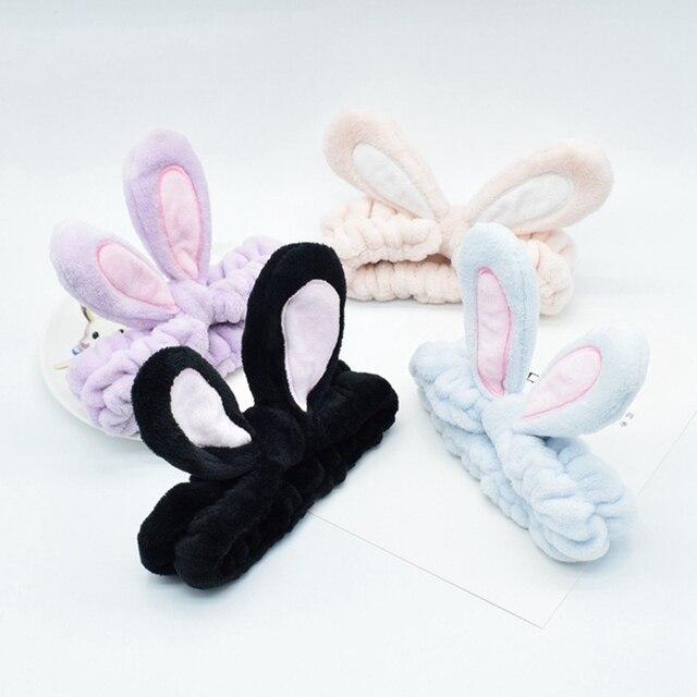 Фото мягкая эластичная лента для волос с кроличьими ушками из хлопка