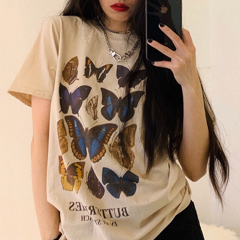 Ladies Butterfly-Print Cotton T-Shirts