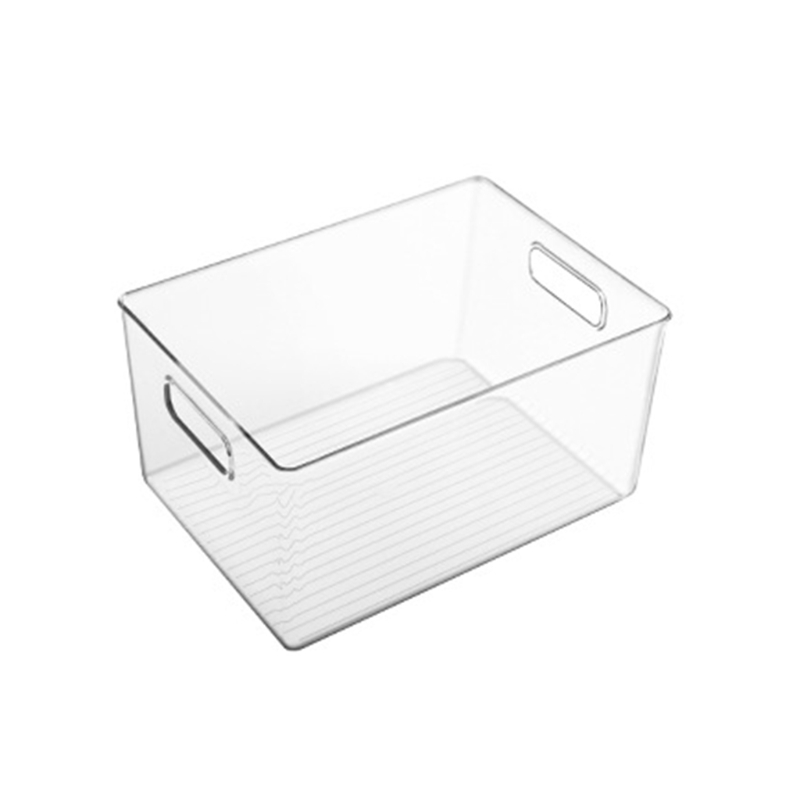 2021 New Plastic Food Storage Container with Side Handle Refrigerator Storage Basket