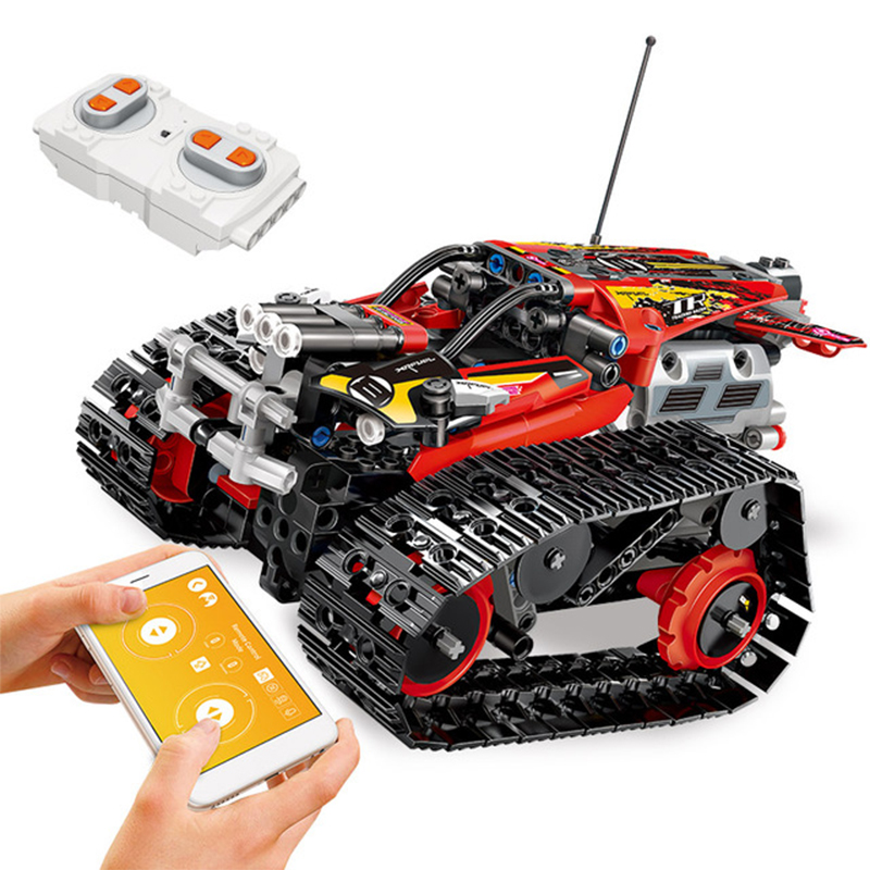 391pcs Technic RC Tracked Stunt Racer Building Blocks Toys Compatible With Legoingly Creator APP Remote Control Car For Children