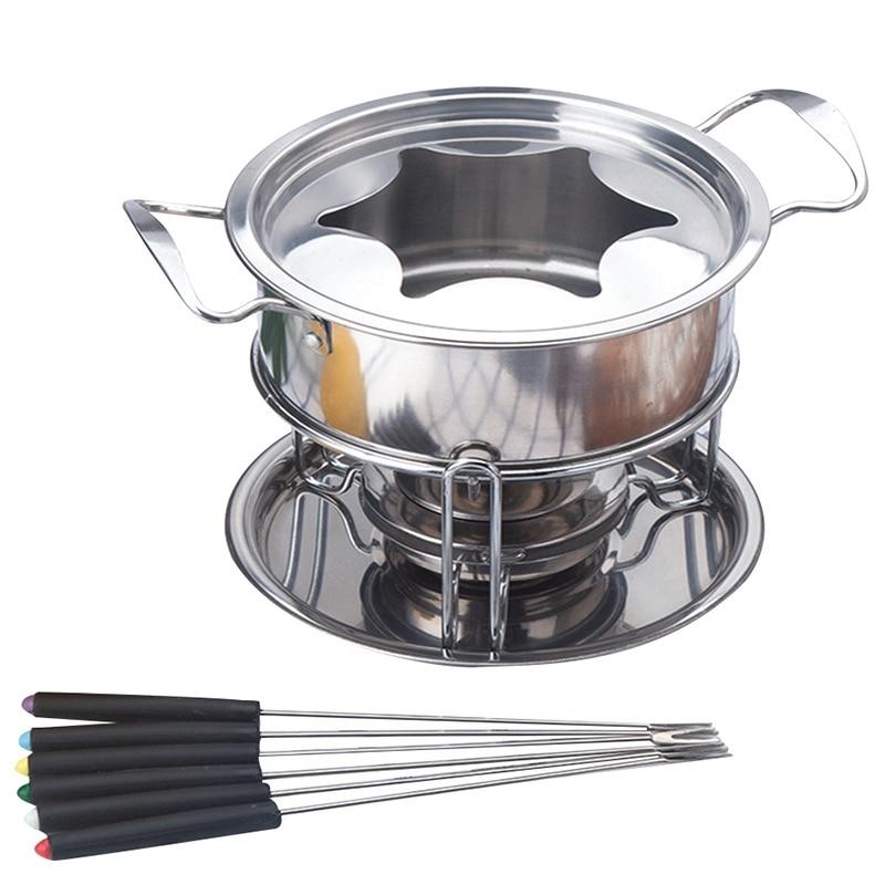 ELEG 10 Piece Set Multifunctional Stainless Steel Ice Cream Chocolate Cheese Hot Pot Melting Pot Fondue Set Kitchen Accessories|Fondue Pots| |  - title=