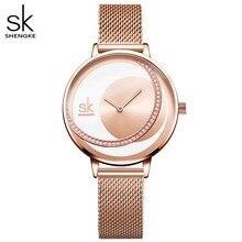 Shengkeクリスタル女性の腕時計高級ブランドの女性のドレスウォッチオリジナルデザインクォーツ腕時計クリエイティブレロジオfeminino