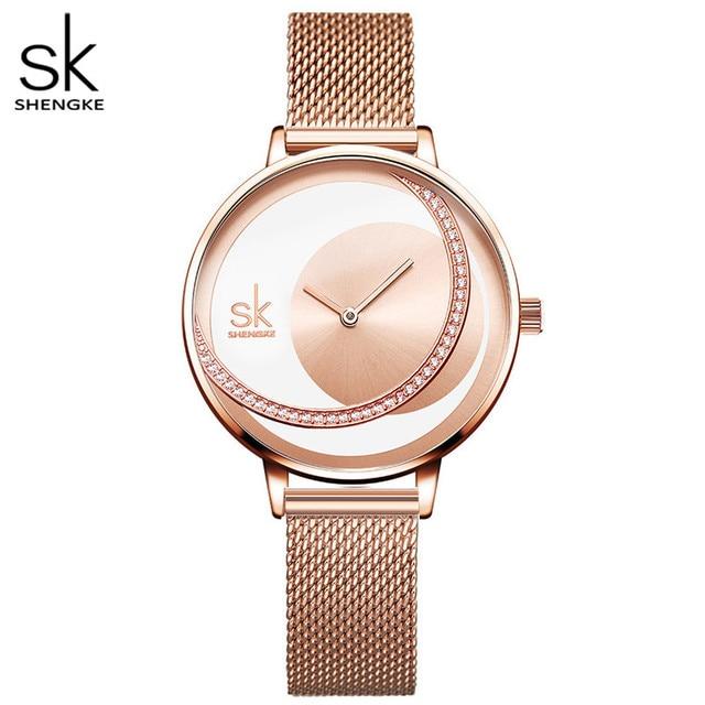 Shengke kristal bayan saatler lüks marka kadınlar elbise İzle orijinal tasarım kuvars bilek saatleri yaratıcı Relogio Feminino