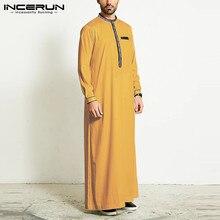 Muslim Men Jubba Thobe Islamic Arab Kaftan Long Sleeve Patchwork Robes Retro Dubai Saudi Arabia Caftan Men Clothes INCERUN 2021