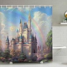 High Quality Polyester Fabric Shower Curtains Bathroom Curtain Washable Bath Rainbow castle in fairy tale with Hooks