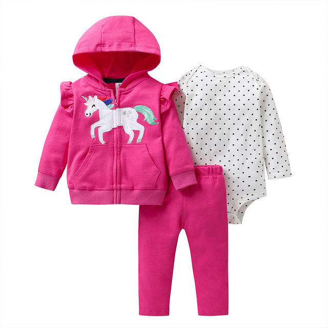 baby girl clothes long sleeve hooded jacket+floral bodysuit+pant 2020 fashion newborn outfit fall infant clothing set zipper 3