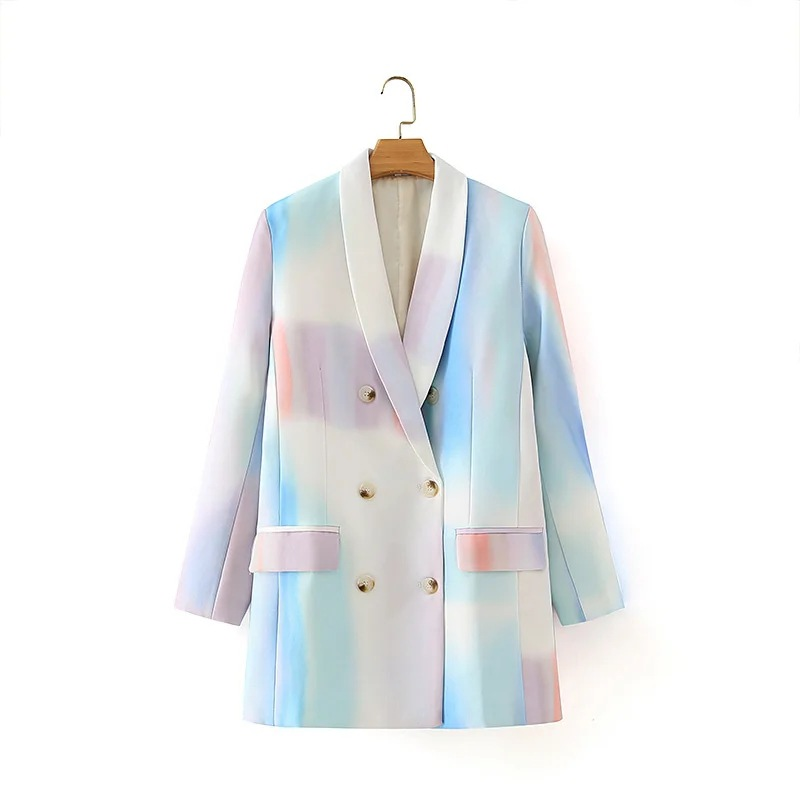 2020 new ladies casual loose double-breasted printed ladies jacket Trendy mid-length ladies blazer Fall small suit Female