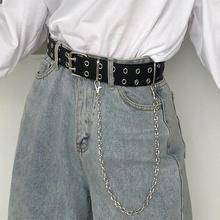 Cinturón de piel sintética para mujer, cinturón con hebilla Punk, vaqueros de viento, cadena decorativa Individual