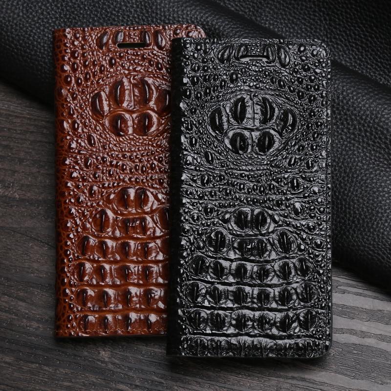 Genuine Leather Flip Phone Case For Google Pixel 2 XL 3 XL Lite 4 XL Magnetic Buckle Cover Cowhide Crocodile Head Wallet Bag
