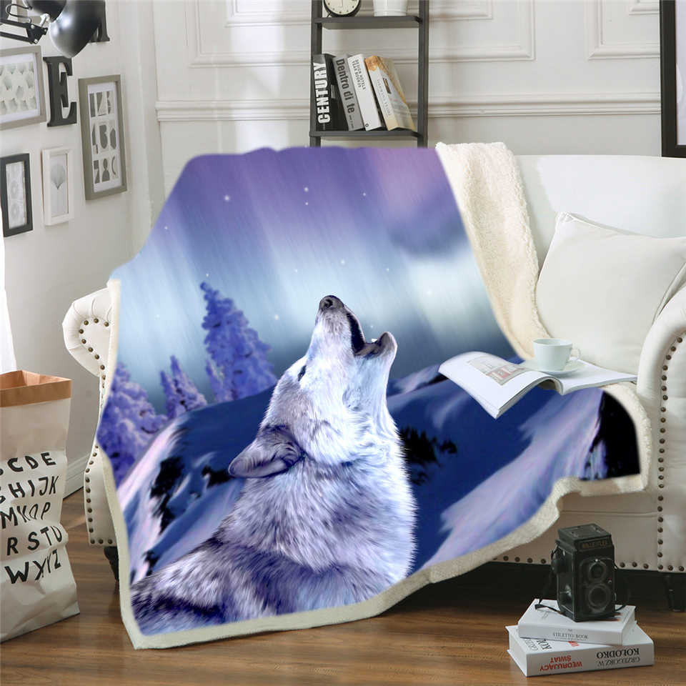 3D Wolf Blanket for Adults Wolf Painting Plush Throw Blanket on the Bed Sherpa Blanket battaniye Animal Bedding Dropship