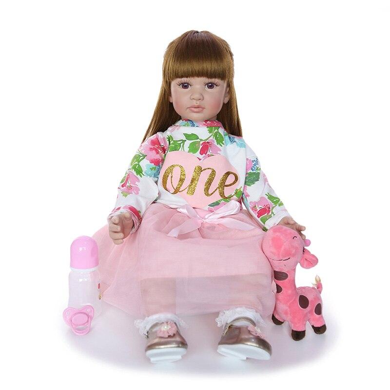 60CM Reborn bébé fille poupée douce à la main en Silicone princesse poupée réaliste Reborn bébés jouet pour enfants anniversaire cadeau de noël