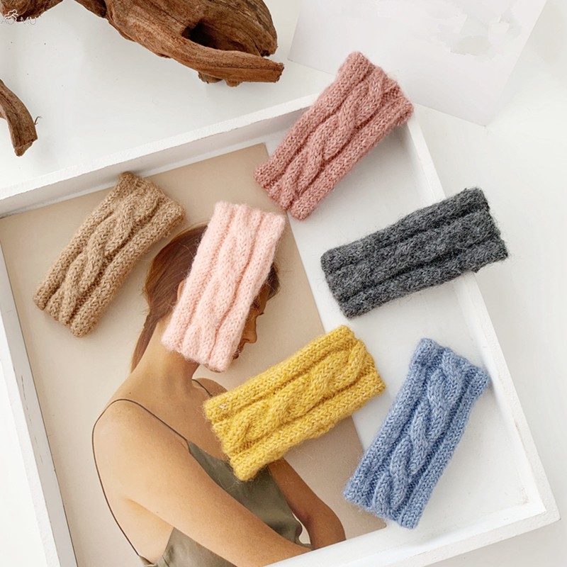 AOMU 1PC Winter Handmade Braided Twisted Wool Hair Clips Women Solid Color Geometric Rectangle Hairpins Hair Accessories