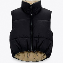 Preto colete feminino casaco moda cortada sem mangas jaqueta gola alta feminino casual zíper outerwear chaleco mujer