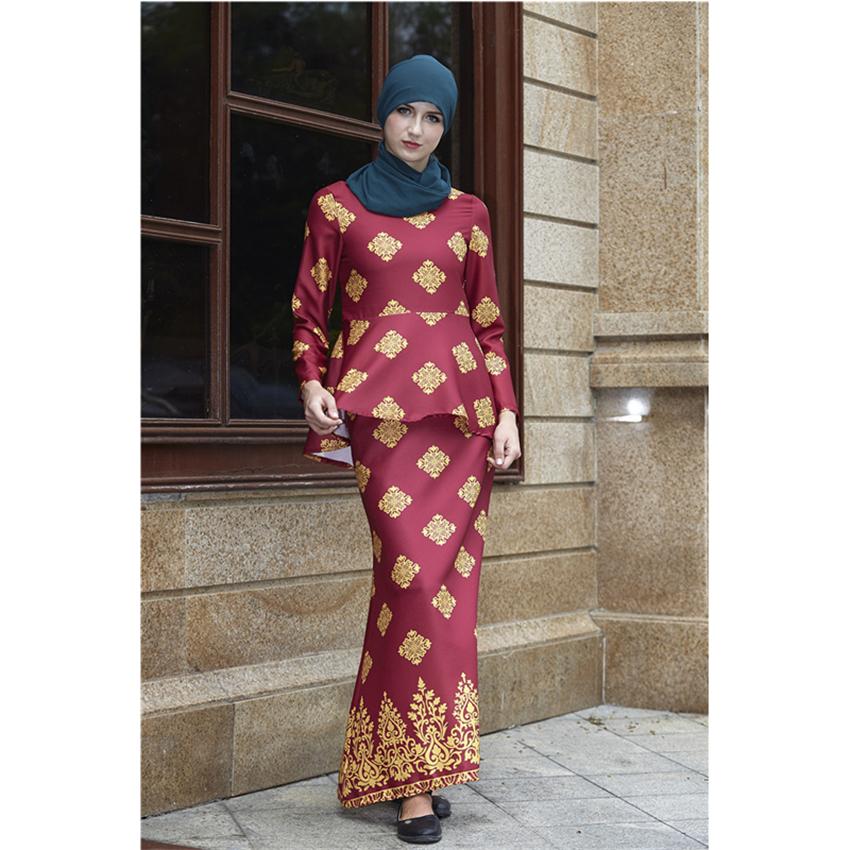 Newly Islamic Woman Fashion Clothing Set Long Sleeve Ruffle Top Elegant Muslim Malaysia Arab Print Ramadan Abaya Outfits