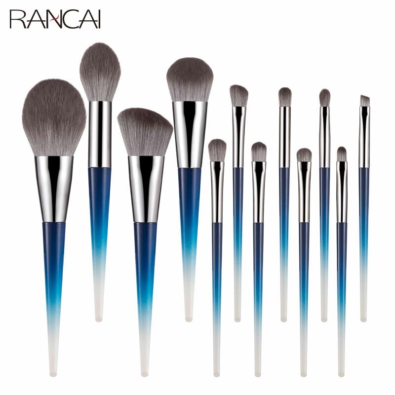 RANCAI 12pcs High Quality Makeup Brushes Set Large Loose Powder Foundation Highlight Contour EyeShadow Oblique Eyebrow Soft Hair