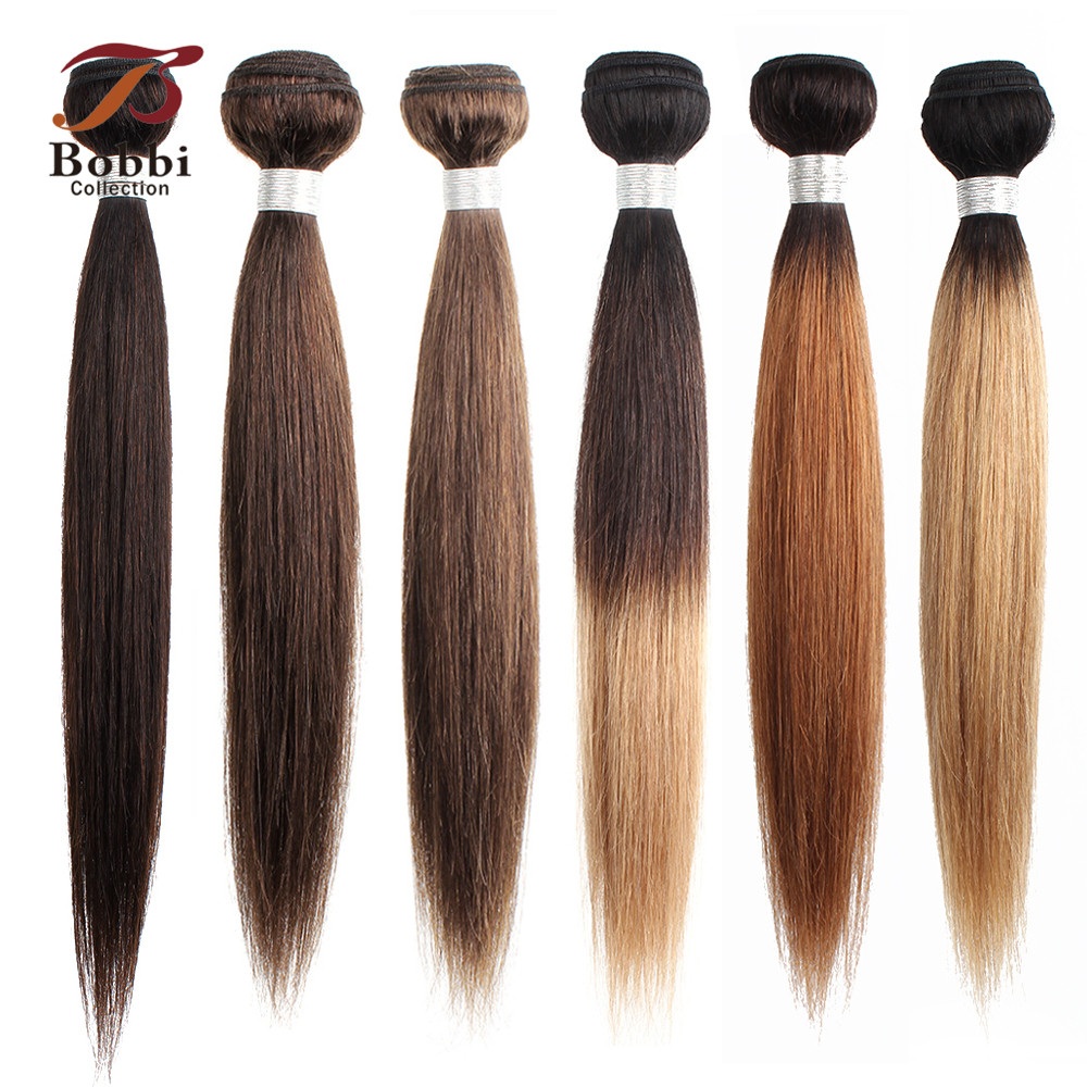 Bobbi Collection 1 Bundle Color #2 #4 Dark Brown Indian Hair Weave Bundle 1B 27 Straight Human Hair Weft Non Remy Hair Extension
