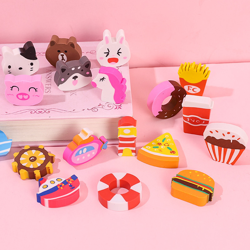 1set Pencil Erasers Lot Cartoon Cute Animals Rubber Eraser For Kids Toys Gift Stationery Kawaii Student Children Supplies
