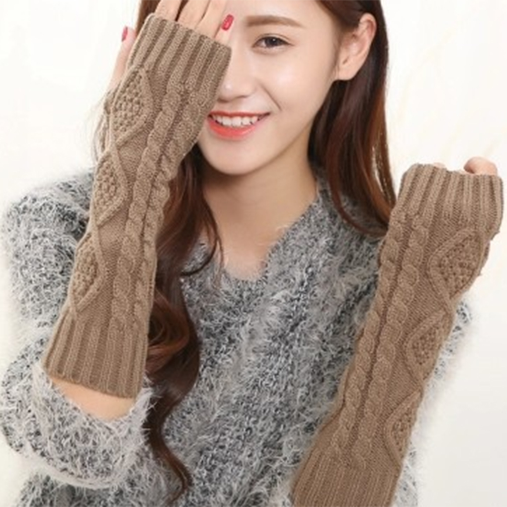 Fashion Women Mitten Warm Fingerless Gloves Hand Warmer Winter Women Arm Crochet Knitting Faux Gloves