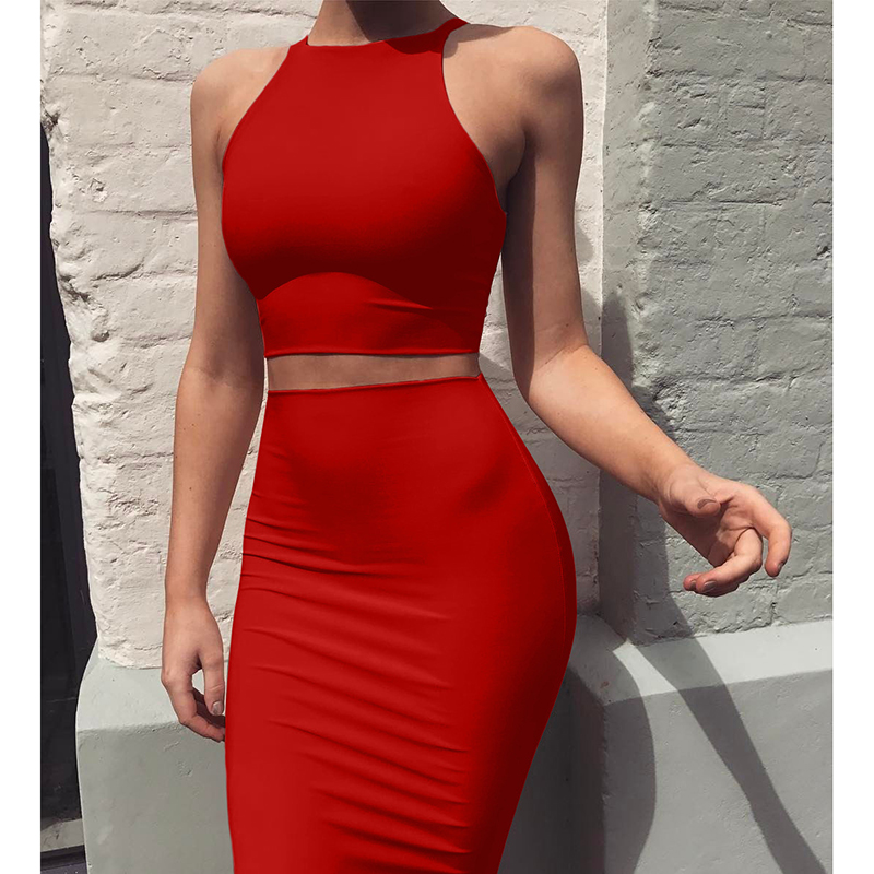 Basic Vest Skirt Set Women High Stretch Sexy Vest Tops Summer 2020 Solid Brief Casual Skirt Bodycon Pencil Midi Skirt Femme