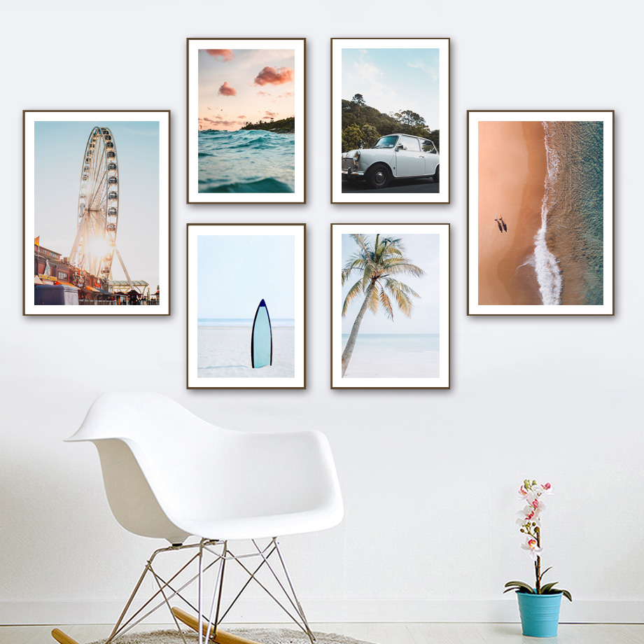 Sea Beach Coconut Tree Ferris <font><b>Wheel</b></font> <font><b>Car</b></font> Wall Art Canvas <font><b>Painting</b></font> Nordic Posters And Prints Wall Pictures For Living Room Decor image