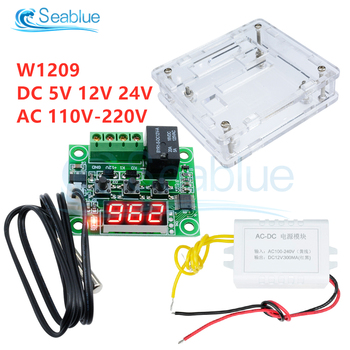 W1209 LED Digital Thermostat Temperature Controller Thermometer Switch Module Waterproof NTC Sensor DC 5V 12V 24V AC 110-220V image