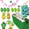 Decoración de fiesta Hawaiana de hoja de palma, globos de piña, suministros de pancarta, Tropical Hawaiano, flamenco, Luau Aloha