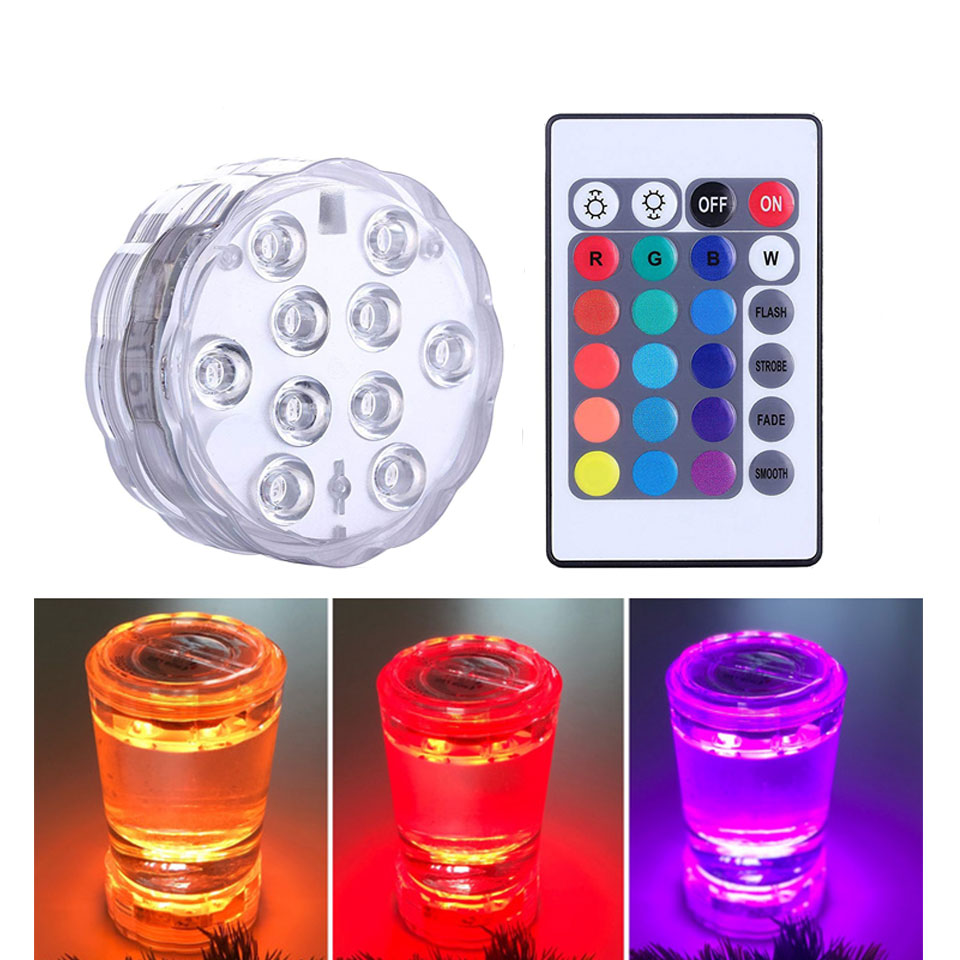 Underwater Light Waterproof Battery Operated 10LED Multi Color Submersible LED Lamp For Fish Tank Swimming Pool Wedding Party