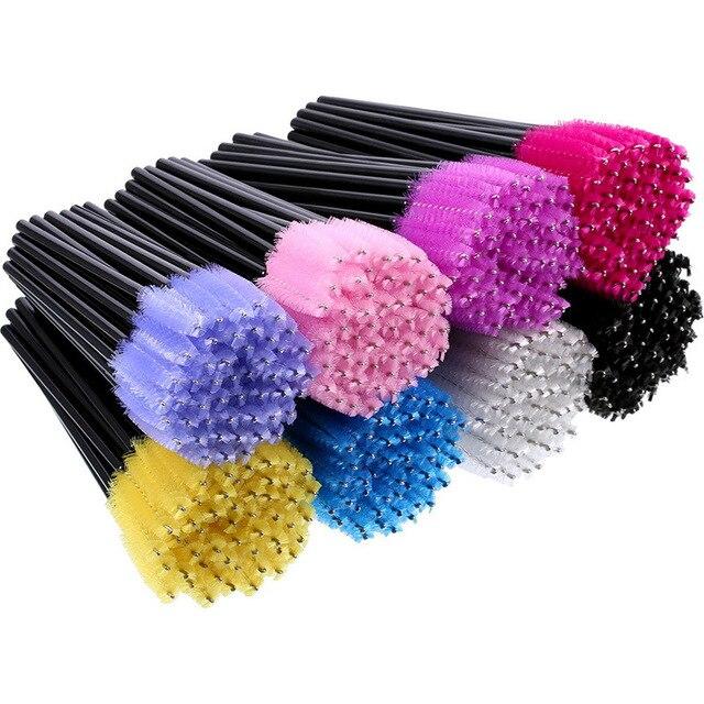 beauty 50pcs/lot Colorful Handle Disposable Mascara Wands Applicator Lash Eye lashes Cosmetic Brush Maquiagem Cilio Makeups Tool 6