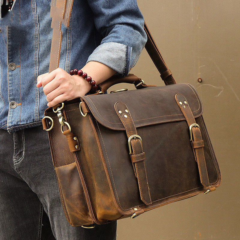 Genuine Leather Briefcase Bags Crazy Horse Leather Bag Men Office Bags For Men Leather Laptop Bag 17 Maletines Hombre Trabajo