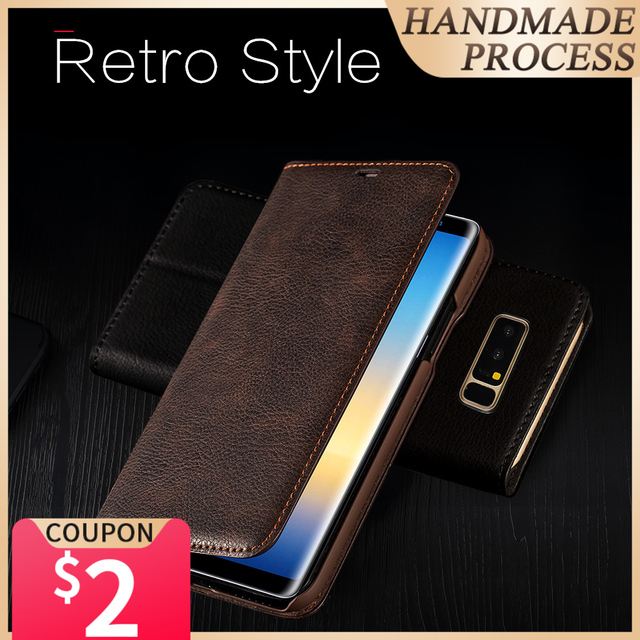 Musubo Ultra Slim Phone Case For Samsung S9 Plus S9+ Coque Genuine Leather Luxury Cases Cover Galaxy S8+ S8 Plus Flip Capa Card