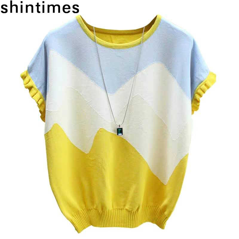 Shintimes Dunne T Shirt Vrouwen Gebreide Stiksels Kleur Tee Shirt Femme Zomer Losse Tops Vrouw Korte Mouw Casual T-shirt Vrouwelijke