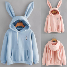 2020 Hoodie Women Kawaii Long Sleeve Rabbit Hoodie